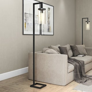 Malta Floor Lamp with Seeded Glass Shade in Blackened Bronze