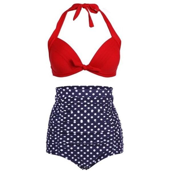 Simplicity Women's Sexy 2 Pcs High Waist Retro Bikini Swimsuit Set 34625942