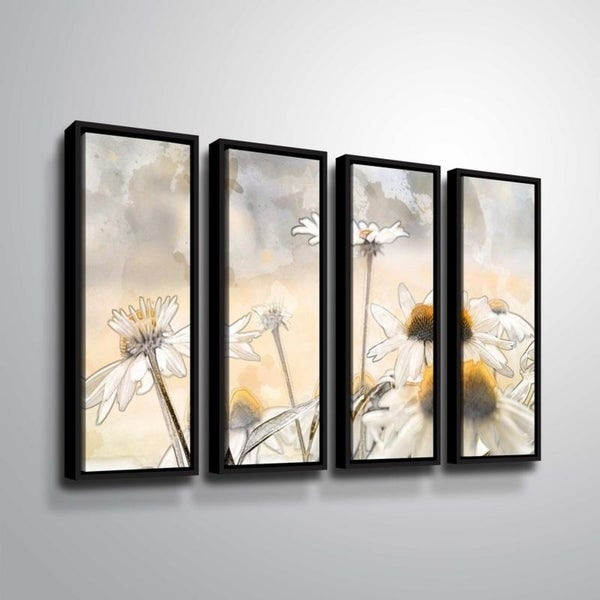 ArtWall Julie Mann Sperry 'Painting the daisies #1' 4 Piece Floater Framed Canvas Set 34631528