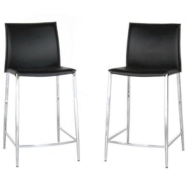 Broadway Black Leather Counter Stools Set Of 2
