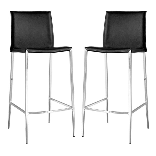 Broadway Black Leather Set Of Two Barstools 10376162