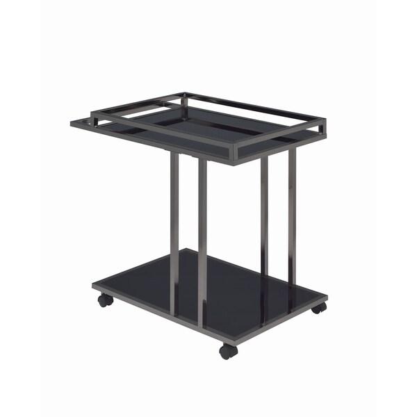 Modern Black Nickel Serving Cart