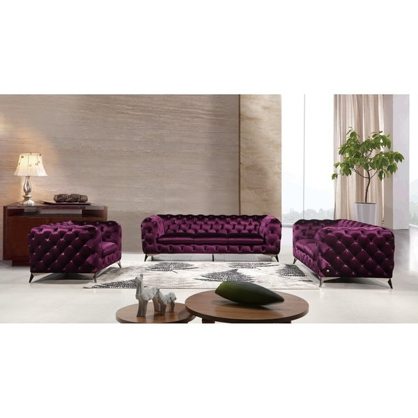 Glitz Purple Velvet Sofa