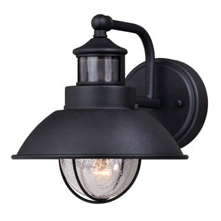 Harwich Black Motion Sensor Dusk to Dawn Coastal Outdoor Wall Light - 8.25-in W x 9-in H x 11-in D