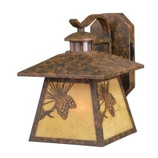 Whitebark Bronze Motion Sensor Dusk to Dawn Rustic Outdoor Wall Light Pinecone Motif - 9.25-in W x 11.5-in H x 11.75-in D