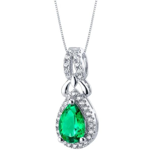 Simulated Emerald Sterling Silver Regina Halo Pendant Necklace - Green 34637549