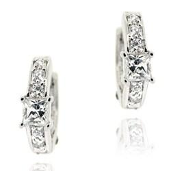 Icz Stonez Sterling Silver Mini Cubic Zirconia Hoop Earrings