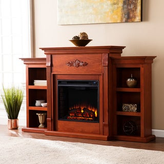 Gracewood Hollow Womack 70-inch Mahogany Electric Fireplace with Bookshelves