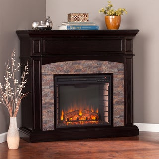 Copper Grove Ebony Faux Stone Corner Electric Media Fireplace