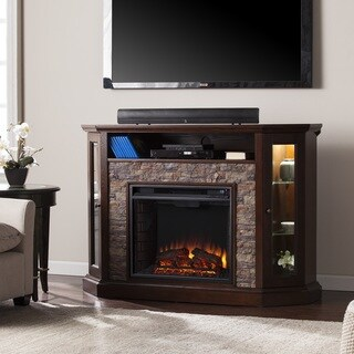 Copper Grove Hermon Faux Stone Corner Convertible Electric Media Fireplace