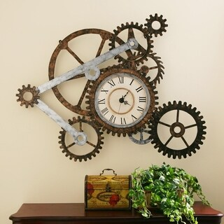 Carbon Loft Wozniak Rustic Gears Wall Clock