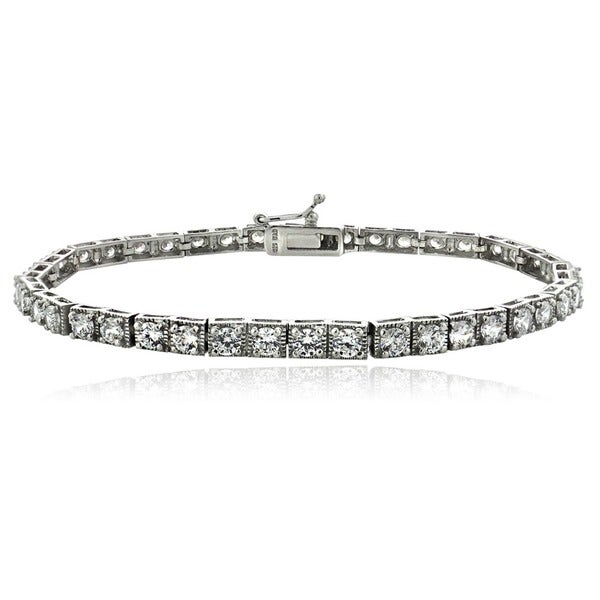 Icz Stonez Sterling Silver/Gold Over Silver CZ Tennis Bracelet