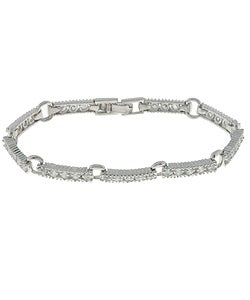 Icz Stonez Sterling Silver CZ Bar and Circle Bracelet
