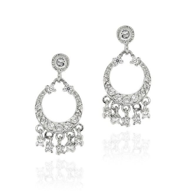 Icz Stonez Sterling Silver CZ Mini Chandelier Earrings