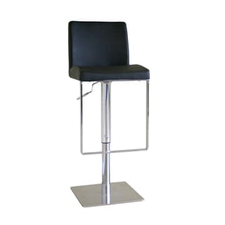 Koshii Adjustable Black Leather Barstool