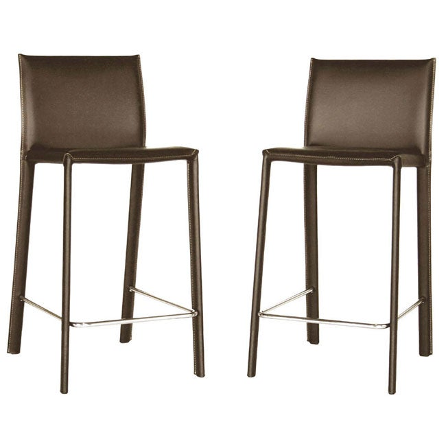 Kazan Brown Leather Counter Stools (Set of 2)