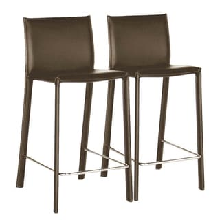 Kazan Brown Leather Barstools (Set of 2)