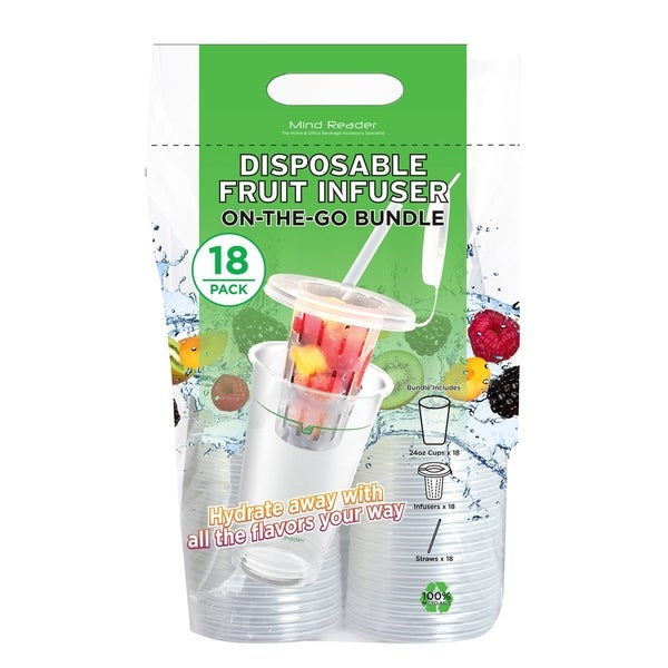 Mind Reader 24-oz 18 Pack Disposable Cups with Fruit Infuser, Lid and Straw, Clear 34656358