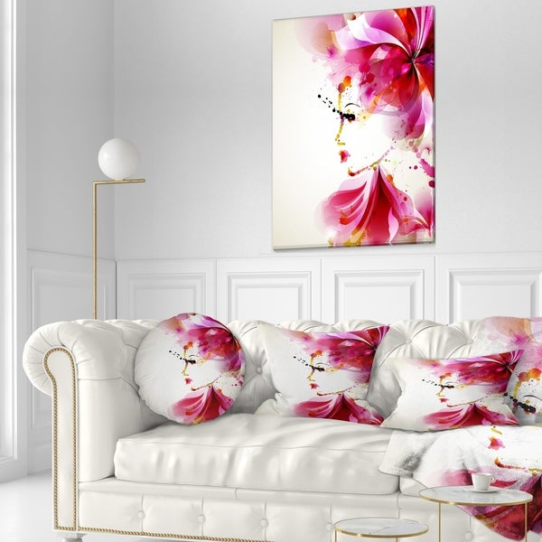 Designart 'Fashion Woman with Abstract Hair' Abstract Throw Pillow 34658640