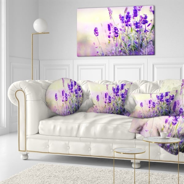 Designart 'Purple Lavender Field' Floral Photography Throw Pillow 34660841