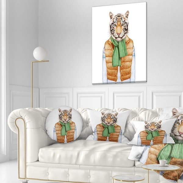 Designart 'Tiger in Vest and Sweater' Contemporary Animal Throw Pillow 34663973