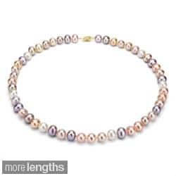 DaVonna 14k 10-11mm Multi-Pink Freshwater Cultured Pearl Strand Necklace (16-36 inches)
