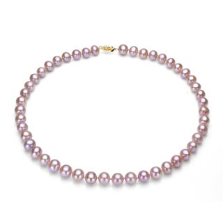 DaVonna 14k Gold Pink FW Pearl 24-inch Necklace (10-11 mm)