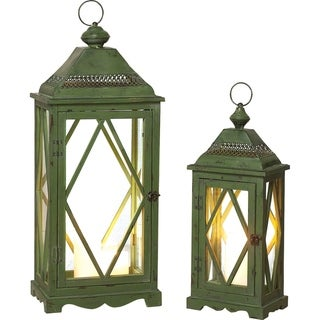 Wood and Metal Lanterns Set of Two