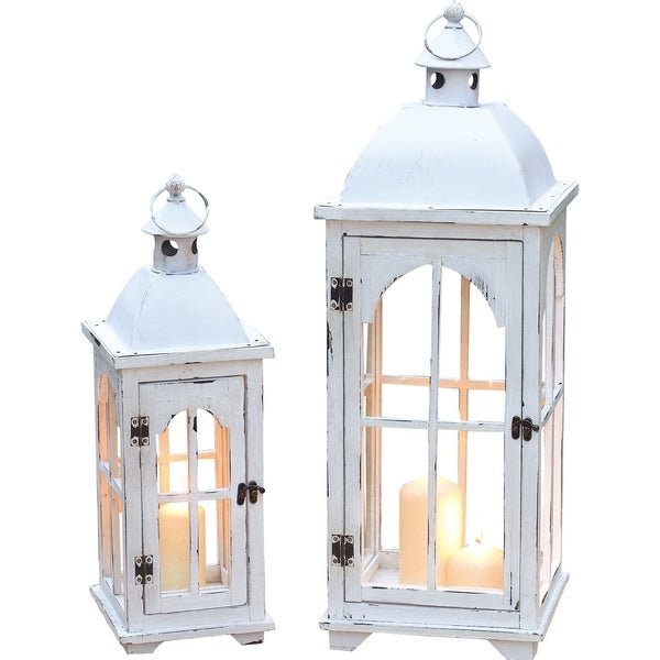 Wood and Metal Lanterns Set of Two 34684387
