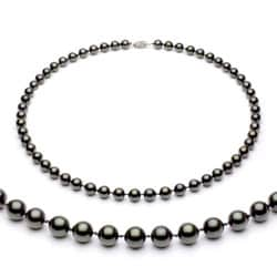 DaVonna 14k Gold Black Akoya Pearl High Luster 18-inch Necklace (7-7.5 mm)