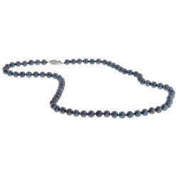 DaVonna 14k Gold Black Akoya Pearl High Luster 18-inch Necklace (5.5-6 mm)
