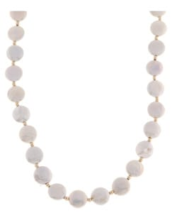 DaVonna 14k Gold Beads and White FW Coin Pearl Necklace (12-13 mm)