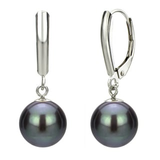DaVonna 14k White Gold Black Cultured Pearl Drop Earrings (9-9.5 mm)