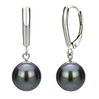 DaVonna 14k White Gold Black Cultured Pearl Dangle Earrings (9-10 mm)