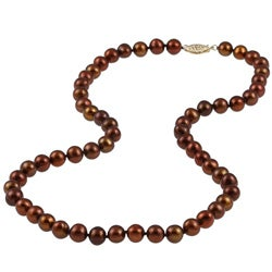 DaVonna 14k Gold Cultured Freshwater Brown Pearl Necklace (7-7.5 mm)