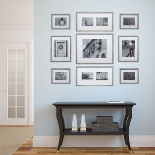 9 Piece Greywash Wood Photo Frame Wall Gallery Kit with Decorative Art Prints & Hanging Template