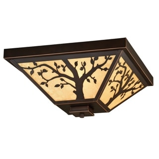 Alberta Bronze Rustic Tree Square Outdoor Flush Mount Ceiling Light - 14-in W x 6.25-in H x 14-in D