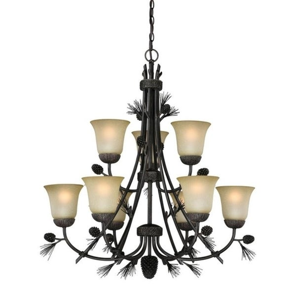 Sierra Black Walnut Resin 9-light Chandelier with Frosted Scavo Glass Shades 34694585