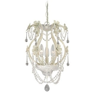 3 Light Crystal and Antique White Vintage Candle Mini Chandelier - 10-in W x 16.5-in H x 10-in D