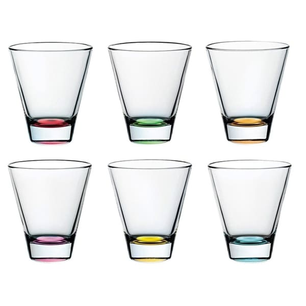 Majestic Gifts Glass D.O.F. Tumblers- Asstd. Colors Bottom 11.5oz-Made in Europe S/6 34696370