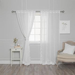 """Aurora Home Ruffle Border Linen Look Curtain Panel Pair - 52""""W x 84""""L"""