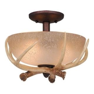 Lodge 2L LED Bronze Rustic Antler Semi Flush Ceiling Light or Fan Light Kit - 12.5-in W x 8.5-in H x 12.5-in D