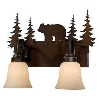 Bozeman 2 Light Bronze Rustic Bear Bathroom Vanity Fixture - 16.75-in W x 13.75-in H x 7.75-in D