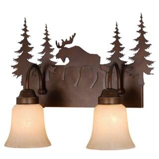 Yellowstone 2 Light Bronze Rustic Moose Bathroom Vanity Fixture - 16.75-in W x 13.75-in H x 7.75-in D