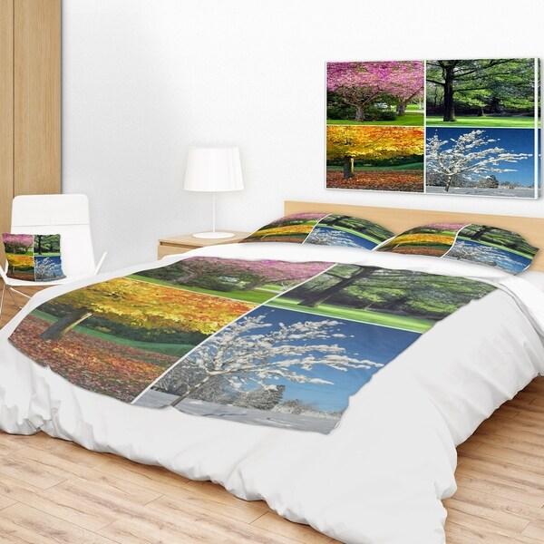 Designart 'Four Seasons Trees Collage' Landscape Fleece Throw Blanket 34717836