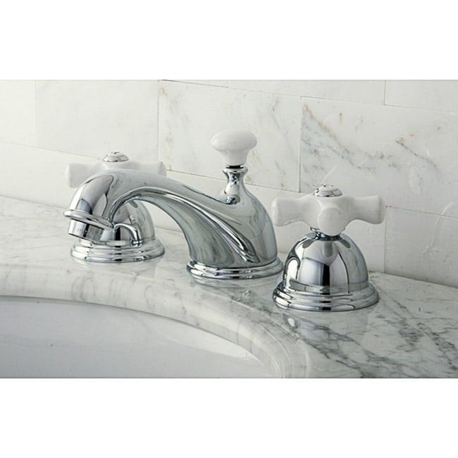 Restoration Porcelain Handles Chrome Widespread Bathroom Faucet