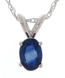 14k White Gold Oval Blue Sapphire Necklace