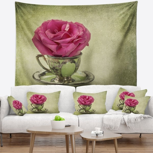 Designart 'Red Rose in Cup and Saucer' Floral Wall Tapestry 34746315