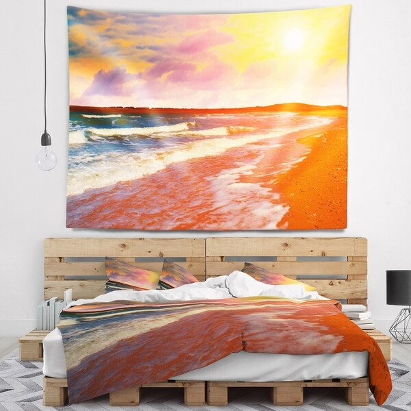 Designart 'Desert Beach at Sunset' Modern Beach Wall Tapestry 34747774