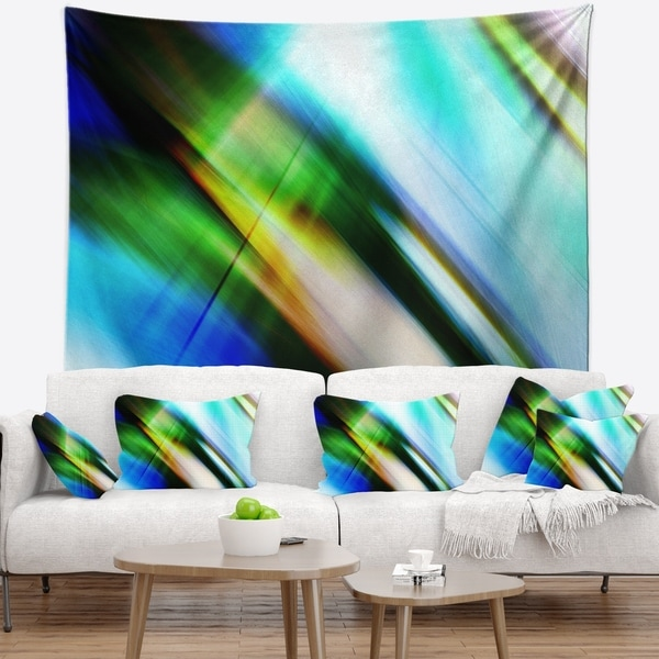 Designart 'Rays of Speed Blue Green' Abstract Wall Tapestry 34751192